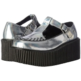 Argent CREEPER-214 Chaussures Creepers Femmes Plateforme