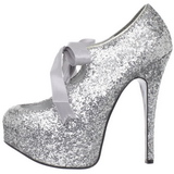 Argent Etincelle 14,5 cm Burlesque TEEZE-10G Platform Escarpins Chaussures