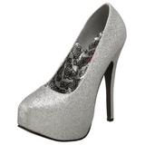 Argent Etincelle 14,5 cm TEEZE-31G Platform Escarpins Chaussures