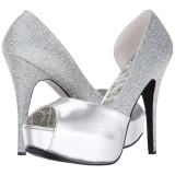 Argent Glitter 14,5 cm Burlesque TEEZE-41W pieds larges escarpins pour homme