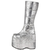 Argent Glitter 18 cm STACK-301G bottes demonia - bottes de cyberpunk unisex