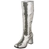 Argent Paillettes 8 cm SPECTACUL-300SQ Bottes Femmes