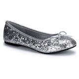Argent STAR-16G etincelle chaussures ballerines femmes plates