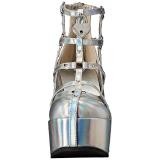Argent Similicuir 13 cm POISON-25-2 bottines lolita talons compensées