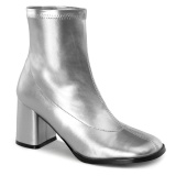 Argent Similicuir 7,5 cm GOGO-150 bottines à talons épais stretch