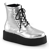 Argent Similicuir CREEPER-573 Bottines Creepers Hommes Plateforme