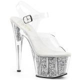 Argent paillettes 18 cm Pleaser ADORE-708G chaussure à talons de pole dance