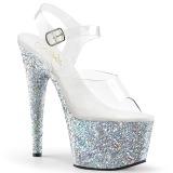 Argent paillettes 18 cm Pleaser ADORE-708LG chaussure à talons de pole dance