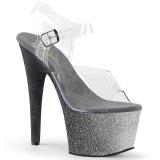 Argent paillettes 18 cm Pleaser ADORE-708OMBRE chaussure à talons de pole dance