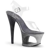 Argent paillettes 18 cm Pleaser MOON-708OMBRE chaussure à talons de pole dance