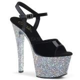 Argent paillettes 18 cm Pleaser SKY-309LG chaussure à talons de pole dance