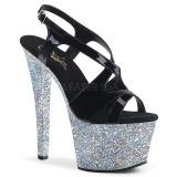 Argent paillettes 18 cm Pleaser SKY-330LG chaussure à talons de pole dance