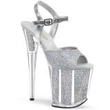 Argent paillettes 20 cm Pleaser FLAMINGO-810G chaussure à talons de pole dance