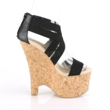 Bande noire 16,5 cm BEAU-669 sandales talon compensé en liège