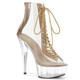 Beige 15 cm DELIGHT-600-34 bottines de pole dance