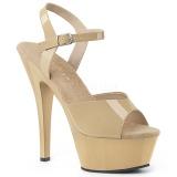 Beige 15 cm Pleaser KISS-209 sandales à talons aiguilles