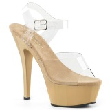Beige 18 cm Pleaser KISS-208 Plateforme Chaussures Talon Haut