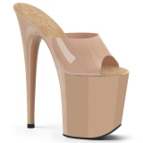 Beige Jelly-Like 20 cm FLAMINGO-801N mules talons hauts de pole dance