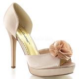 Beige Satin 12 cm LUMINA-34 Chaussures Escarpins de Soirée