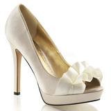 Beige Satin 12 cm LUMINA-42 Chaussures Escarpins de Soirée