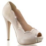 Beige Satin 13 cm LOLITA-05 Chaussures Escarpins de Soirée