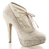 Beige Satin 13 cm LOLITA-32 Chaussures Escarpins de Soirée