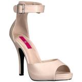 Beige Similicuir 12,5 cm EVE-02 grande taille sandales femmes