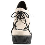 Beige Similicuir CREEPER-302 chaussures creepers compensées