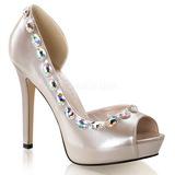 Beige Strass 12 cm LUMINA-38 Chaussures Escarpins de Soirée