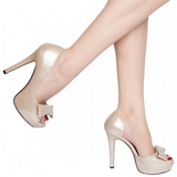 Beige Verni 12 cm LUMINA-32 Chaussures Escarpins de Soirée