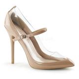 Beige Verni 13 cm AMUSE-21 Chaussures Escarpins Classiques