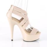 Beige bande élastique 15 cm DELIGHT-669 chaussures pleaser à talon femme