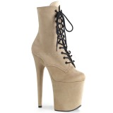 Beige faux suede 20 cm FLAMINGO-1020FS bottines de pole dance
