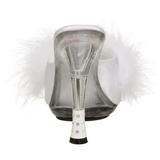 Blanc 12,5 cm GLITZY-501-8 plumes de marabout Mules Chaussures