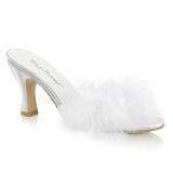 Blanc 7,5 cm FLAPPER-01F plumes de marabout Mules Chaussures