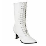 Blanc 7 cm VICTORIAN-120 Bottines à Lacets Talons Hauts Femmes