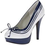Blanc Bleu 13 cm LOLITA-13 Chaussures Escarpins de Soirée