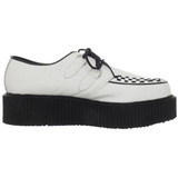 Blanc Cuir 5 cm CREEPER-402 Chaussures Creepers Hommes Plateforme
