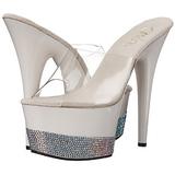 Blanc Diamant 18 cm Pleaser ADORE-701-3 Mules Talons Aiguilles