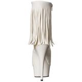 Blanc Mat 15 cm DELIGHT-1019 bottines a frangees pour femmes a talon