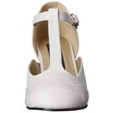 Blanc Mat 7,5 cm retro vintage FLAPPER-26 escarpins à talons hauts