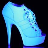 Blanc Neon 15 cm DELIGHT-600SK-01 basket à talon aiguille en toile