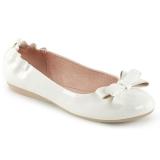 Blanc OLIVE-03 ballerines chaussures plates avec nœud papillon