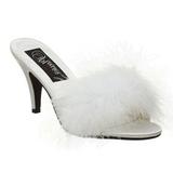 Blanc Plumes 8 cm AMOUR-03 Chaussures Mules pour Hommes