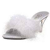 Blanc Plumes 8 cm BELLE-301F Chaussures Mules pour Hommes