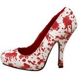 Blanc Rouge 13 cm BLOODY-12 Chaussures Escarpins Gothique