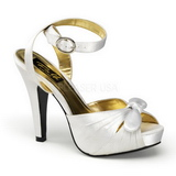 Blanc Satin 12 cm PINUP COUTURE BETTIE-04 Plateforme Haut Talon