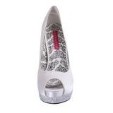 Blanc Satin 13,5 cm BELLA-12R Strass Plateforme Escarpins Hauts Talons