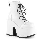 Blanc Similicuir 13 cm DEMONIA CAMEL-203 bottines gothique