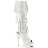 Blanc Similicuir 15 cm DELIGHT-2019-3 bottes a frangees pour femmes a talon